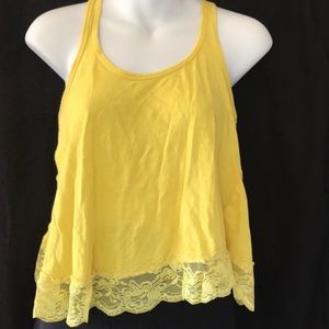 Yellow Lace Crop Tank